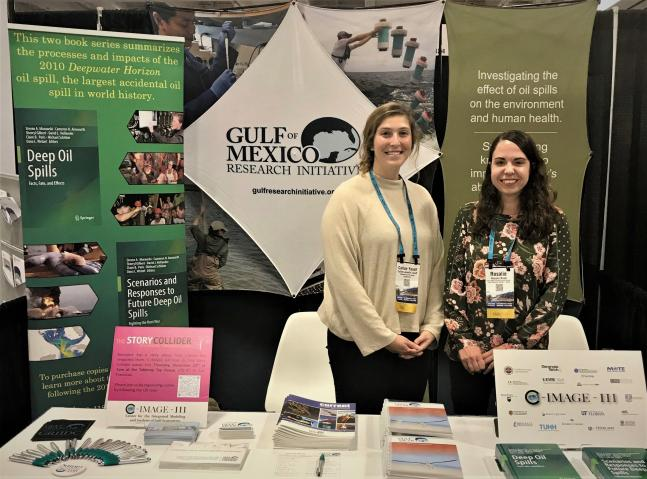 Rosalie Rossi (GRIIDC Program Manager) and Callan Yanoff (Consortium for Ocean Leadership) at AGU Dec 2019