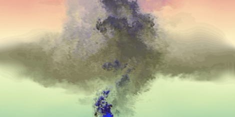 Snapshot of the simulated oil plume after 10 hours. Photo Credit: William Dewar
